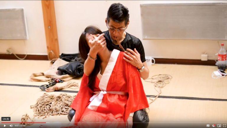 La démonstration de son gote Shibari par Tessin Doyama lors de son workshop pour l'Ecole des Cordes